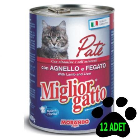 Miglior Gatto Pate Karışık Kedi Konservesi 12 Adet + Dana + Kuzu + Tavuk
