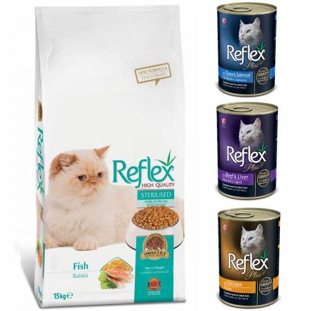 Reflex Balıklı Kısırlaştırılmış Kısır Kedi Maması 15 kg + 3 Reflex Kedi Konserve